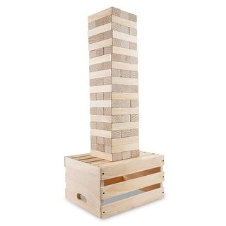 Sunny & Fun Giant Toppling Tower - 60 Jumbo Wooden Blocks Stacks to 5+ Feet
