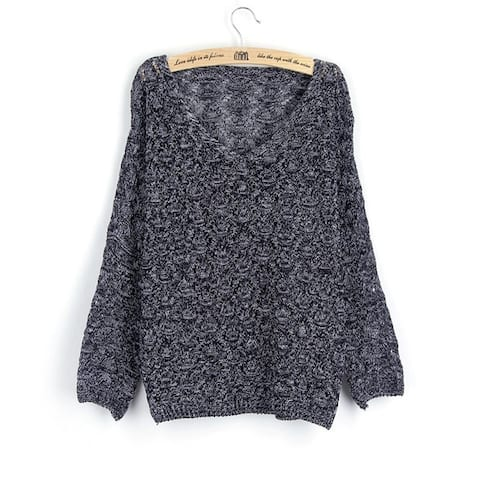 Korean Style V Neck Loose Knitted Sweaters Women Thin Hollow Out Batwing Sleeve Ladies Pullovers One Size
