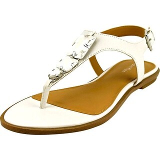 Calvin Klein Ultima Women Open Toe Leather White Thong Sandal