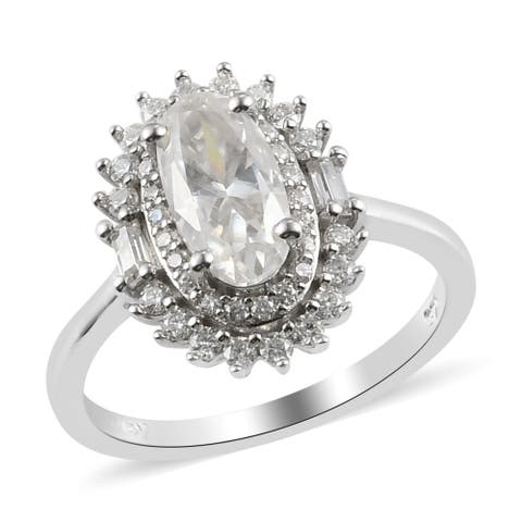925 Sterling Silver Platinum Over Moissanite Halo Ring Size 10 Ct 2