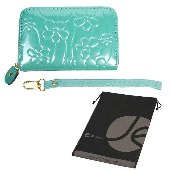 JAVOedge Shiny Floral Debossed Coin Purse with Zipper and Detachable Wristlet