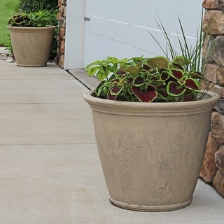 Sunnydaze Anjelica Outdoor Flower Pot Planter - Grey Finish - 24-Inch - 2-Pack - Set of 2