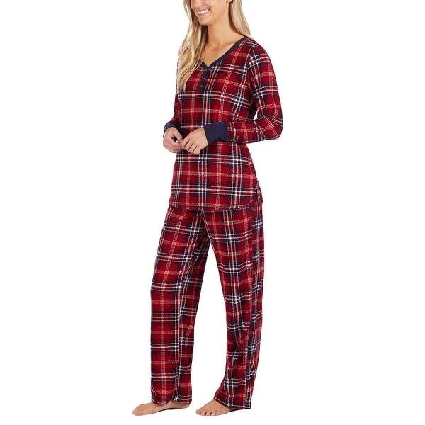 Nautica Women/'s 2 Piece Fleece Pajama Sleepwear Set Gray//Red Various Sizes