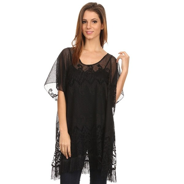 Womens Pullover Multi-Patterned Lace Poncho
