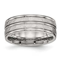 Stainless Steel Polished Hammered and Grooved 8 mm Band Ring - Sizes 7 - 13