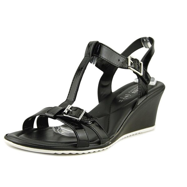Italian Shoe Makers Henna Women Open Toe Leather Black Wedge Sandal