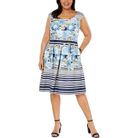 R & M Richards Womens Plus Wear to Work Dress Floral Fit & Flare - Navy/White - 20W
