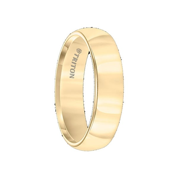 FARGO Domed Yellow Gold Plated Tungsten Carbide Ring with Polished Finish by Triton Rings - 6mm
