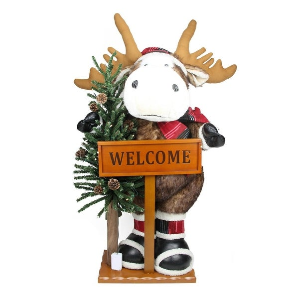 3' Battery Operated Lighted Moose with Welcome Stick Christmas Figure on Wooden Base