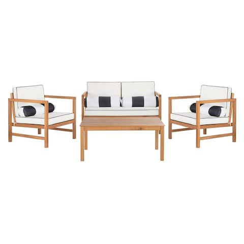 SAFAVIEH Outdoor Living 4-piece Montez Chat Set with Accent Pillows
