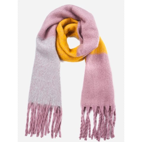 Vero Moda Womens Pink Yellow One Size Colorblocked Fringe-Trim Scarf