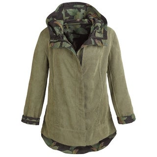 Women's Army Green Reversible Corduroy Hooded Jacket