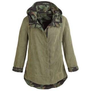 Women's Army Green Reversible Corduroy Hooded Jacket