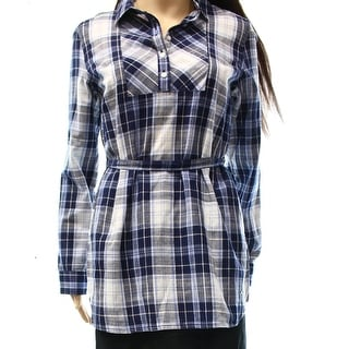 Tommy Hilfiger NEW Blue Women Size Small S Plaid Print Belted Tunic Top