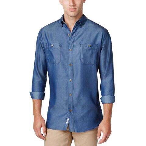 Weatherproof Vintage Denim Blue Dyed Long Sleeve Button Front Shirt Medium M