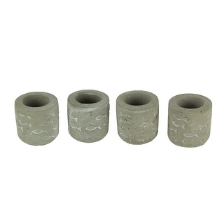 Grey Cement Embossed Fish Tealight Candle Holders Set of 4 - 2.75 X 2.75 X 2.75 inches