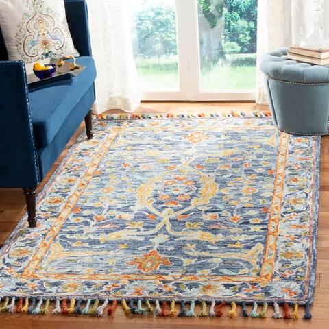 SAFAVIEH Handmade Aspen Bohemian & Eclectic Floral & Botanical Blue/Rust Wool Rug