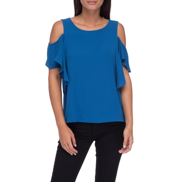 2e835fc19f933 Shop Bobeau Cold Shoulder Ruffle Sleeve Top - XS - Free Shipping On ...