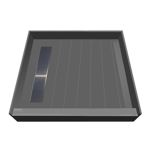 "Tile Redi RT4242L-PVC-3 Redi Trench 42"" x 42"" Square Shower Base with Single Threshold and Left Drain - Brushed Nickel"