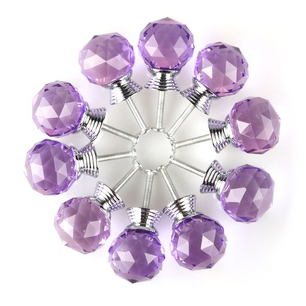 30mm Clear Crystal Glass Drawer Knobs Cabinet Pull Handle Round Purple 10pcs