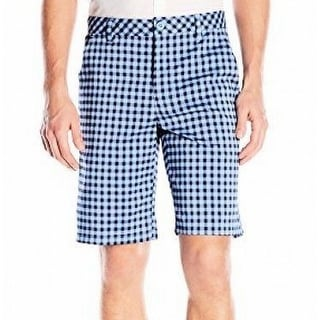 IZOD NEW Blue Mens Size 34 Straight Fit Gingham Check Golf Shorts