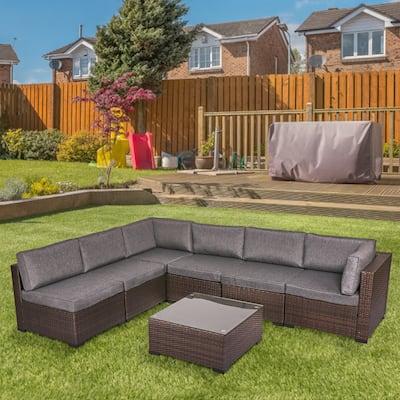 Kinsunny Patio Furniture Set Outdoor Sectional Sofa, Cushioned Rattan Wicker Conversation Set, Melange Black