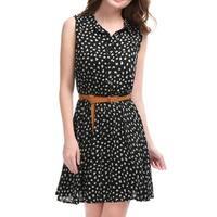 Women Daisy Print Sleeveless Unlined Belted Shirt Dress Black M - black-daisy