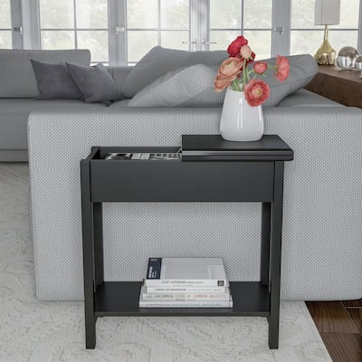 """Hastings Home Narrow Flip Top End Table - 22.75"""" x 11"""" x 24"""""""