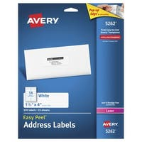 Avery Easy Peel Permanent-Adhesive Address Labels For Laser Printers, 1-1/3 x 4 in, White, Pack of 350