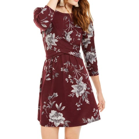 Be Bop Dress Small Junior A-Line Knit Cross-Over Floral