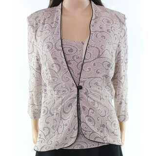 Marina NEW Beige Glitter Women's Size Medium M Tank Sweater Twinset