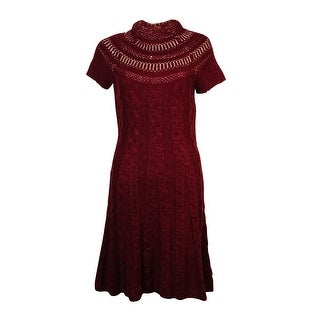 Free People Women's Metallic Cap Sleeves Cable Sweater Dress - m