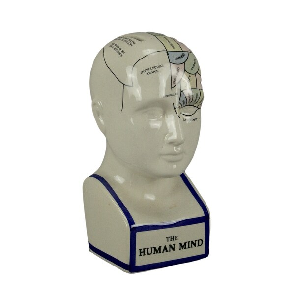 Phrenology Head With Colored Map Ceramic Coin Bank - 7.5 X 3.5 X 4.25 inches