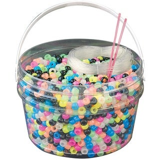 Kandi Kids Pony Bead Bucket Kit-Glow Multicolor