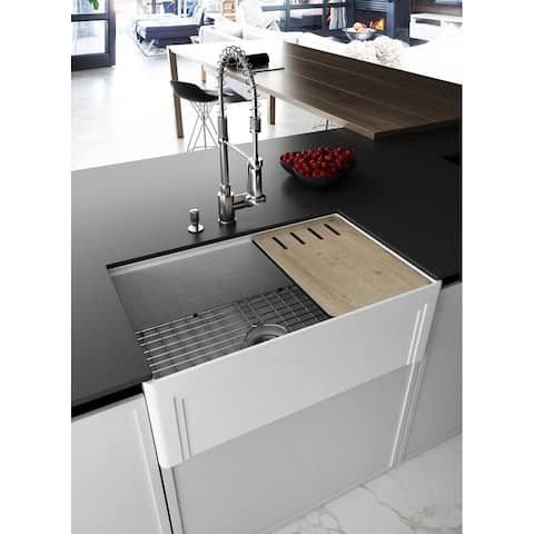 EMPIRE Devon 30 in. Fireclay Workstation Reversible Farmhouse Kitchen Sink