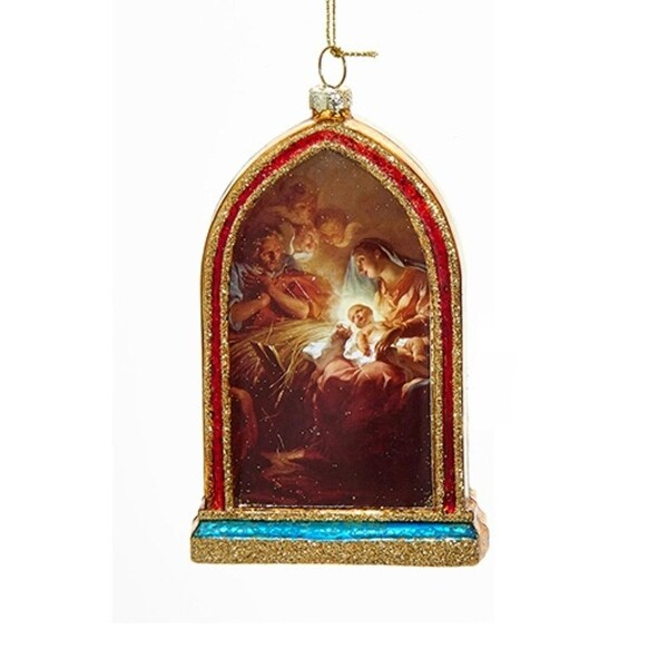 "5"" Holy Family Mary, Joseph and Jesus Religious Hanging Glass Christmas Ornament - GOLD"