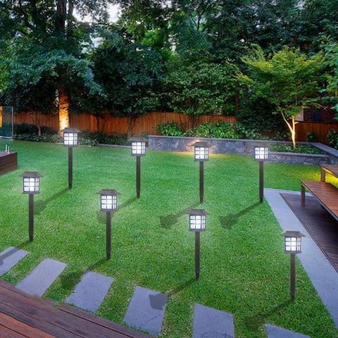 8pcs White LED Solar Lantern Torch Light Garden Landscape Lighting