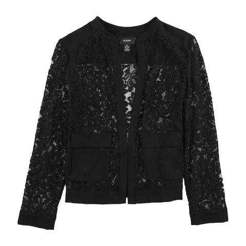 Alfani Womens Lace Bomber Jacket, Black, Medium