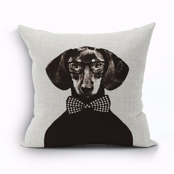 Luxury Design fancy male dachshund with bow tie throw pillow