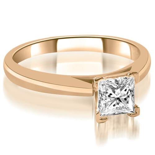 1.00 cttw. 14K Rose Gold Cathedral V-Prong Solitaire Diamond Engagement Ring