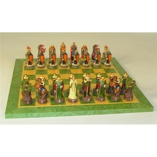 Worldwise Imports Robin Hood On Green Tan Board Themed Chess Set