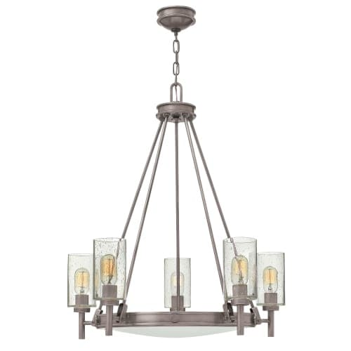 Hinkley lighting 3385 collier 5 light 27 wide chandelier with glass shades