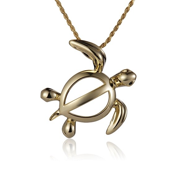 14k yellow gold honu pendant 18 necklace free shipping today 14k yellow gold honu pendant 18 necklace aloadofball Images