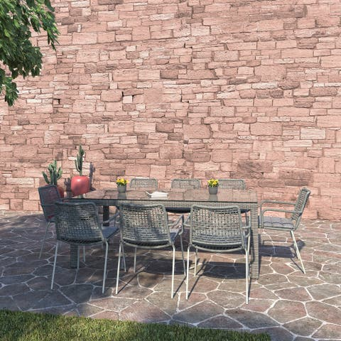 Amazonia Rouge Outdoor 9pc Patio Dining Set - With Cushions
