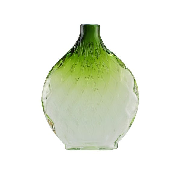 "11.5"" Disc Shaped Transparent Forest Green Ombré Hand Blown Glass Vase"