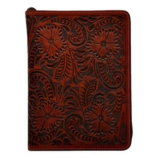 3D Western Bible Cover Hand Tooled Floral Leather Zipper Cognac BI351