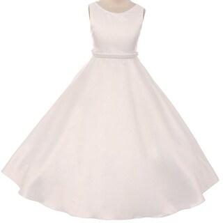 Flower Girl Dress Holy Communion Satin Pearl Trim Ivory KD.386