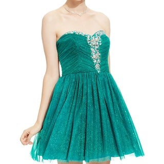 B. Darlin Womens Juniors Party Dress Strapless Embellished