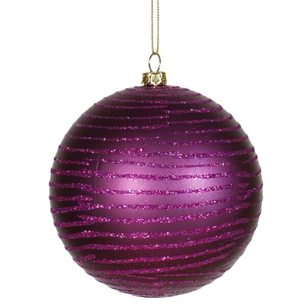 "Plum Purple Glitter Striped Shatterproof Christmas Ball Ornament 4"" (100mm)"