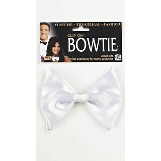White Clip On Bow Tie, White Bow Tie - One Size Fits Most